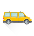 flat yellow van car body style icon vector image