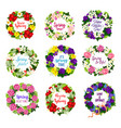 flower wreath for mother day holiday greeting card vector image vector image