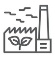 green factory line icon ecology and energy vector image