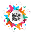 Happy butterfly spring time with qr code label vector image