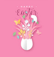 happy easter paper cut card spring papercraft egg vector image vector image