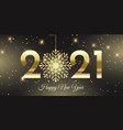 happy new year banner with glittery snowflake vector image vector image