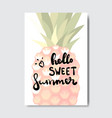 hello summer pineapple badge isolated typographic vector image vector image