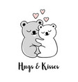 hugs and kisses hand drawn greeting card vector image