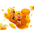 isometric design concept autumn athletes in park vector image