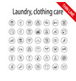laundry clothing care wash icons set universal vector image