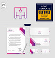 light interior logo template and stationery vector image vector image