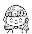 line beauty girl with clothes and hairstyle design vector image vector image