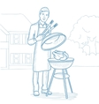 Man cooking chicken on barbecue grill vector image