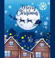 merry christmas font with santa claus vector image