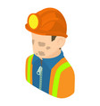 miner man icon isometric 3d style vector image