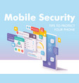 mobile security and data protection concept vector image