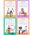 office work posters set men women working tables vector image vector image