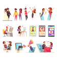 online dating icons collection vector image vector image