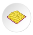 Open thick book with text icon cartoon style vector image