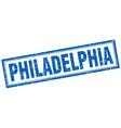 Philadelphia blue square grunge stamp on white vector image vector image