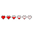 pixel heart with game life bar pixel art hearts vector image vector image