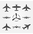 Plane black icons vector image