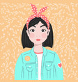 portrait a girl with dark hair and hair band vector image vector image