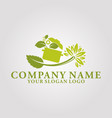 restaurant leaf logo 1 vector image vector image