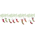 Seamless pattern brush with Christmas Santa socks vector image vector image
