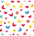Seamless pattern with hearts butterflies and vector image