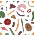 seamless pattern with ingredients of asian wok vector image