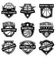set basketball sport emblems design element vector image vector image