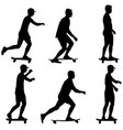 set ilhouettes a skateboarder performs jumpingon a vector image vector image