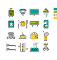 set linear hotel service colored icons vector image