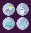 set of cute unicorns fairy tale vector image vector image