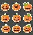 set of pumpkins for halloween set of pumpkins for vector image vector image