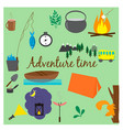 set with outdoor recreation elements vector image