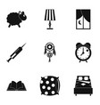 sleeping icon set simple style vector image vector image