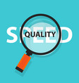 speed vs quality services and product concept vector image vector image