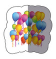 sticker colorful background with flying balloons vector image vector image