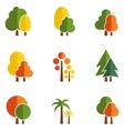 tree set on flat design style vector image