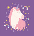 unicorn rainbow stars clouds decoration magical vector image vector image