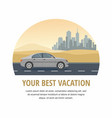 vacation gray car drive on road in the desert vector image