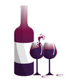 wine bottle and cups design vector image vector image
