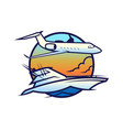yacht on waves and plane in sky icon vector image vector image