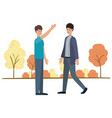 young men with landscape avatar character vector image vector image