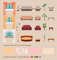 set of domestic living room elements and vector image