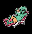 aliens eat pizza vector image vector image