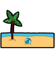 beach palm tree ball sand sea image vector image vector image