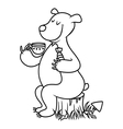 Bear drinking tea vector image vector image