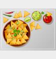 bowl with nachos salsa guacamole or ranch sauces vector image
