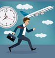 businessman running behind a plane vector image