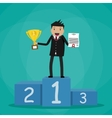 Businessman winner standin on podium vector image vector image