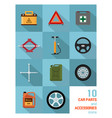 car parts and accessories icons vector image
